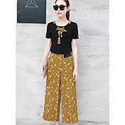 Mujer Camiseta - A Rayas Floral Pantalón