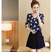 レディース 日常 夏 Tシャツ(21) スカート スーツ,現代風 Vネック プリント 半袖
