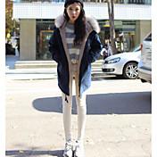 レディース カジュアル/普段着 冬 コート,シンプル ノッチドラペル ソリッド レギュラー コットン 長袖
