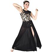 ラテンダンス ワンピース 女性用 子供用 演出 スパンデックス スパンコール 2個 ノースリーブ ナチュラルウエスト ドレス ヘッドピース