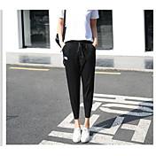 Mujer Alta cintura Corte Ancho Perneras anchas Holgado Pantalones - Un Color Sexy, Color puro Delgado