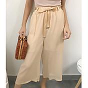 Mujer Sencillo Tiro Medio Microelástico Perneras anchas Pantalones,Holgado Un Color