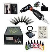 タトゥーマシン スターターキット 1 xライニングとシェーディング用ロータリー墨機械 LCD電源 1×アルミニウムグリップ 5つ 個 タトゥー針