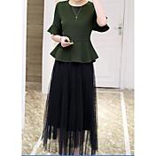 レディース 日常 夏 Tシャツ(21) スカート スーツ,現代風 ラウンドネック ソリッド 半袖