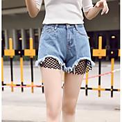 Mujer Sensual Alta cintura Microelástico Perneras anchas Shorts Pantalones,Un Color Vaqueros Verano
