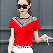 Kortærmet V-hals Medium Damer Stribet Forår Sommer Sexet Simpel I-byen-tøj Afslappet/Hverdag T-shirt,Polyester