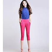 Mujer Tejido Oriental Tiro Medio Microelástico Pantalones Harén Shorts Pantalones,Un Color Verano