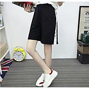 Mujer Sencillo Tiro Medio Microelástico Shorts Pantalones,Holgado Un Color