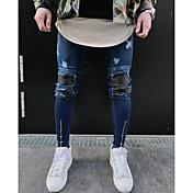 メンズ シンプル ストリートファッション ミッドライズ タイト マイクロエラスティック スリム パンツ その他