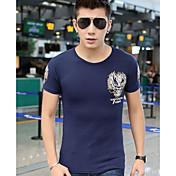メンズ お出かけ カジュアル/普段着 Tシャツ,シンプル ラウンドネック ソリッド コットン 半袖