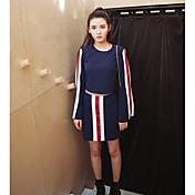 レディース カジュアル/普段着 春 Tシャツ(21) スカート スーツ,シンプル ラウンドネック ストライプ 長袖 マイクロエラスティック