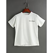 Mujer Casual Diario Camiseta,Escote Redondo Un Color Estampado Manga Corta Algodón