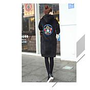 レディース プラスサイズ シンプル カジュアル/普段着 パーカー ソリッド マイクロエラスティック コットン 長袖 秋