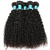 Cabelo Humano Cabelo Brasileiro Cabelo Bundle Kinky Curly Extensões de cabelo 5 Peças Preto