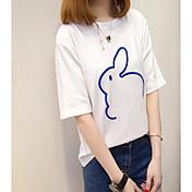 レディース カジュアル/普段着 Tシャツ,シンプル ラウンドネック ソリッド ポリエステル 半袖