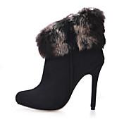 Mujer Botas Botas de Moda Terciopelo Otoño Invierno Vestido Fiesta y Noche Negro 10 - 12 cms