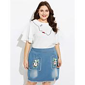 Mujer Simple Casual/Diario Otoño T-Shirt Falda Trajes,Escote Redondo Un Color Estampado Manga Corta Microelástico