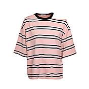 Mujer Casual Diario Camiseta,Escote Redondo Un Color A Rayas Manga Corta Algodón