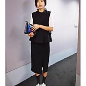 レディース カジュアル/普段着 春 秋 Tシャツ(21) スカート スーツ,シンプル スタンド ソリッド ノースリーブ