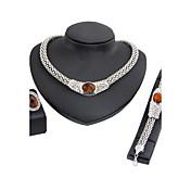 女性用 ネックレス ファッション シンプルなスタイル クラシック キュービックジルコニア ラインストーン 銀メッキ 用途 結婚式 パーティー 婚約 式典 ウェディングギフト