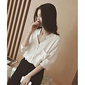 Mujer Simple Casual/Diario Camisa,Escote en Pico Un Color Manga Larga Otro