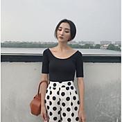 Mujer Simple Casual/Diario Camiseta,Escote en U Profunda Un Color Manga Corta Algodón