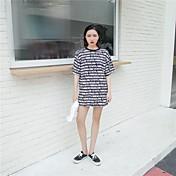 レディース カジュアル/普段着 夏 Tシャツ,ストリートファッション ラウンドネック プリント レタード その他 半袖 ミディアム