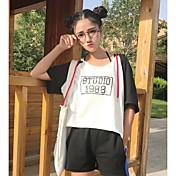 レディース スポーツ Tシャツ,シンプル フード付き カラーブロック コットン ハーフスリーブ