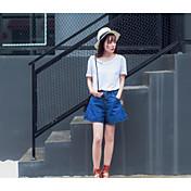 Mujer Simple Noche Verano T-Shirt Pantalón Trajes,Escote en Pico Un Color Manga Corta