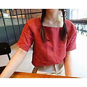 レディース カジュアル/普段着 シャツ,シンプル ディープUネック ソリッド コットン 半袖