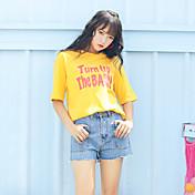 レディース カジュアル/普段着 Tシャツ,キュート ラウンドネック プリント コットン 半袖