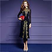 Mujer Corte Bodycon Vestido Noche Tallas Grandes Vintage,Color sólido Bordado Escote Chino Midi Manga Larga Algodón Poliéster Primavera
