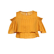 Mujer Simple Casual/Diario Camiseta,Escote Redondo Un Color Manga Corta Algodón Lino
