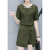 Mujer Simple Noche Verano T-Shirt Falda Trajes,Escote Cuadrado Un Color Manga Corta