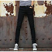 Hombre Sencillo Tiro Medio Inelástica Chinos Pantalones,Delgado Un Color