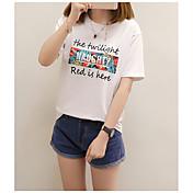 レディース カジュアル/普段着 Tシャツ,キュート ラウンドネック プリント レタード コットン 半袖