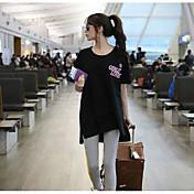 レディース カジュアル/普段着 Tシャツ,シンプル ラウンドネック プリント レタード コットン その他 半袖