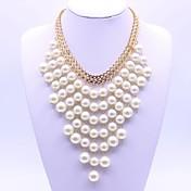 女性用 レイヤードネックレス 人造真珠 幾何学形 合金 ファッション クラシック ジュエリー 用途 パーティー 日常 舞台