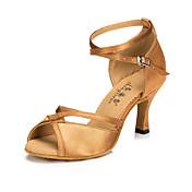 Mujer Zapatos de Baile Latino Seda / Semicuero Sandalia / Zapatilla Hebilla Tacón Stiletto Personalizables Zapatos de baile Negro / Marrón