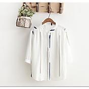 レディース カジュアル/普段着 夏 シャツ,シンプル スタンドカラー ソリッド コットン 七分袖