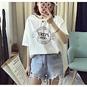 レディース カジュアル/普段着 夏 Tシャツ,シンプル ラウンドネック プリント コットン 半袖