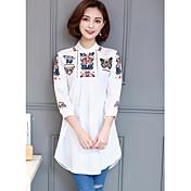 レディース カジュアル/普段着 シャツ,シンプル スタンド 刺繍 コットン 長袖