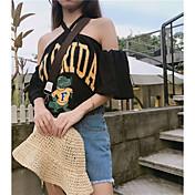 Mujer Sexy Bonito Casual/Diario Camiseta,Halter Estampado Manga 3/4 Algodón