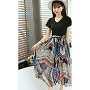 Mujer Simple Noche Discoteca Verano T-Shirt Falda Trajes,Escote Redondo Un Color Floral Manga Corta Microelástico
