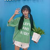 レディース カジュアル/普段着 Tシャツ,キュート ラウンドネック ストライプ レタード コットン ポリエステル ハーフスリーブ