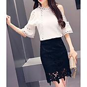 Mujer Simple Casual/Diario Verano T-Shirt Falda Trajes,Cuello Barco Un Color Manga Corta