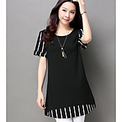 Mujer Simple Casual/Diario Verano Camiseta,Escote Redondo A Rayas Manga Corta Algodón Otro