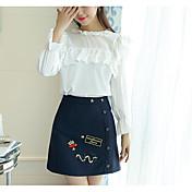 レディース カジュアル/普段着 夏 Tシャツ(21) スカート スーツ,シンプル ラウンドネック プリント 長袖