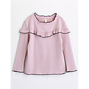 Camiseta Chica Un Color Algodón Manga Larga Otoño Rosa
