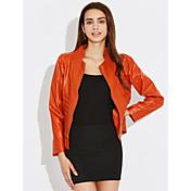 秋 レザージャケット,ストリートファッション スタンド ソリッド ブラック / オレンジ ポリウレタン 長袖 ミディアム